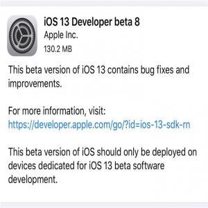 苹果iOS13/iPadOS 13开发者预览版Beta 8正式推送[图]